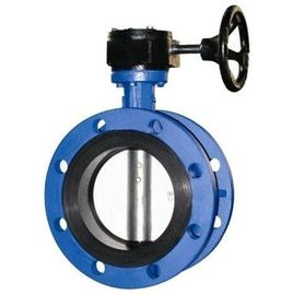 China 4 Inch Resilient Seated Butterfly Valves With Worm Gear / Double Flanged Butterfly Valve factory