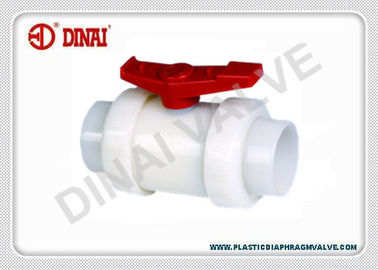 "China PVDF Double Union Plastic Ball Valve 1/2""(D20mm) ~ 4""(D110mm) PN1.0Mpa DIN / ANSI / JIS factory"